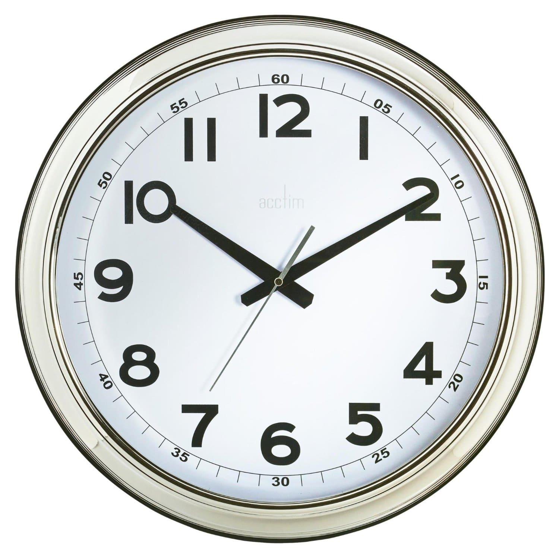 Acctim Large Chrome Clock 445mm C Chircop Ltd Malta